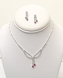 PINK AND CLEAR RHINESTONE SET NKR390