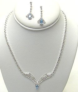 ACQUA AND CLEAR RHINESTONE NECKLACE SET NKR324