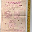 Tango Argentina Buenos Aires Lyrics Brochure Tania Cambalache Uno Cafetin Fangal