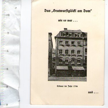 Germany Post WW2 Bratwurstglodl am Dom Restaurant Advertising