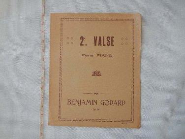 2nd Waltz Valse Benjamin Godard PIANO SHEET MUSIC VINTAGE