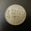 BELGIUM  WW2 ALLIED OCCUPATION 2 Francs 1944  Coin GREAT CONDITION