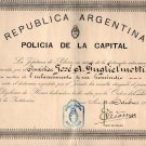 Argentina Police Commissioner 1936 Homicide Crime Clearing Award Hommage Diploma
