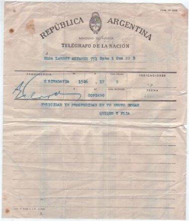 Argentina 1942 Buenos Aires Postal Telegraph Telegram