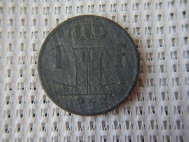 1942 Belgium 1 Franc Zinc Coin WW2 German Occupation GREAT CONDITION