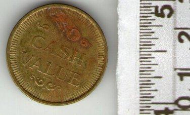 VINTAGE Casino  Gaming Gambling Chip Bronze Token
