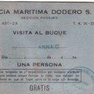 Merchant Navy Ship Shipping Marine Anna C Cruise Visit Pass DODERO Argentina