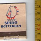 Spido Rotterdam Cruise Ship Freighter Marine Shipping Empty Matchbook OLD