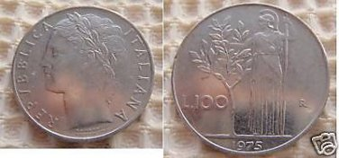 Italy Italia 100 Lire 1975 Coin Coins OUTSTANDING