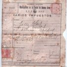 OLD Argentina 1933 Tax Receipt Invoice REVENUE STAMP