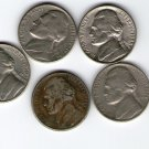 United States 5 Cents 1970 1974 1979 1988 1991 Nickel Coin 5 Coins