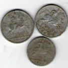 Spain 5 10 Cents Centimos 1940 1941 España Coin  3  Coins