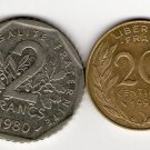 France 2 Francs 1980 20 Centimes  1992 2 Coin Coins LOT