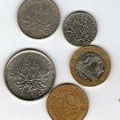 France Francs Centimes 1/2 1 5 10 20 5 Coins Lot Coin