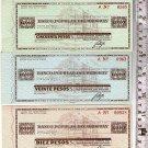Uruguay Traveller Checks 10 20 50 Pesos Popular Bank BUNDLE LOT OF 3 c1940 UNC