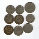 Argentina  5 10 20 Centavos 1910 1920 1926 1938 1952 San Martin Coin 9 COINS LOT