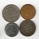 Brasil Brazil 25 50 Centavos 1 Cruzeiro 1970 1974 2003 2005 Coin LOT OF 4 COINS