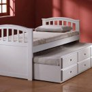 San Marino White Twin Bed & Trundle with Drawers