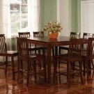 Carol 9pc Counter Height Dining Set In Walnut Finish