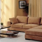Telus Lt Brown Sectional Sofa + 2 Ottomans and Bookcase