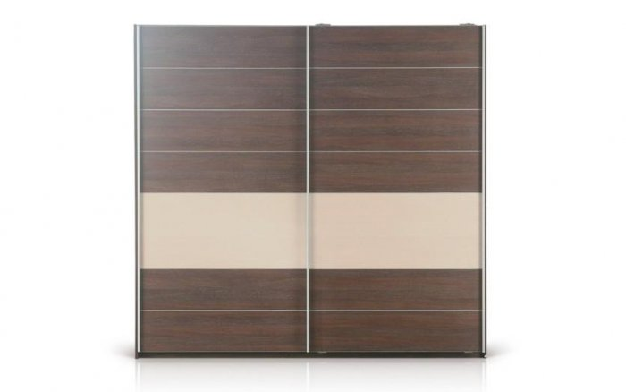 Tais Modern Sliding Door Wardrobe in  Wenge-Whitened Oak Finish