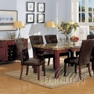 7Pcs Cherry Dining Set Marble Table Top with Brown Chairs