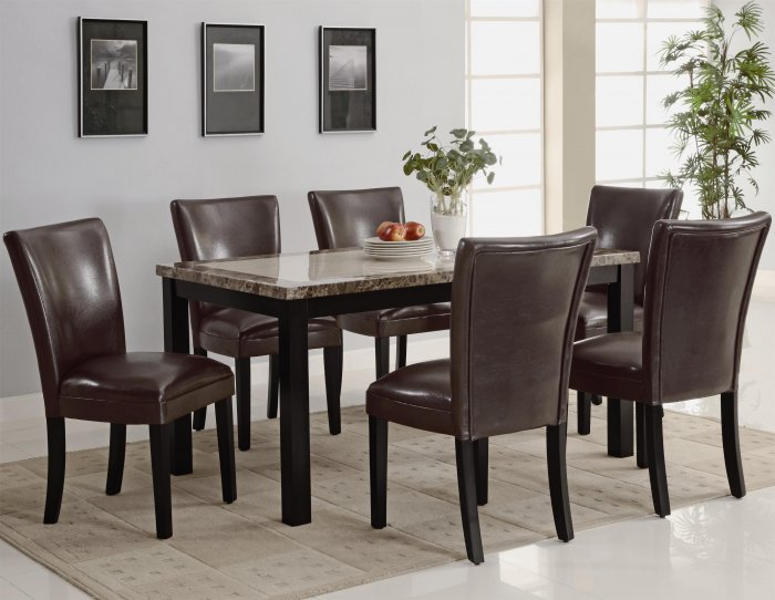 Carter 7pc 102260/63 Faux Marble Dining Set with Brown Chairs