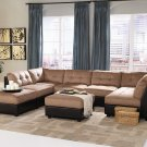 8pc Claude Two Tone Sectional Sofa With Two Ottomans