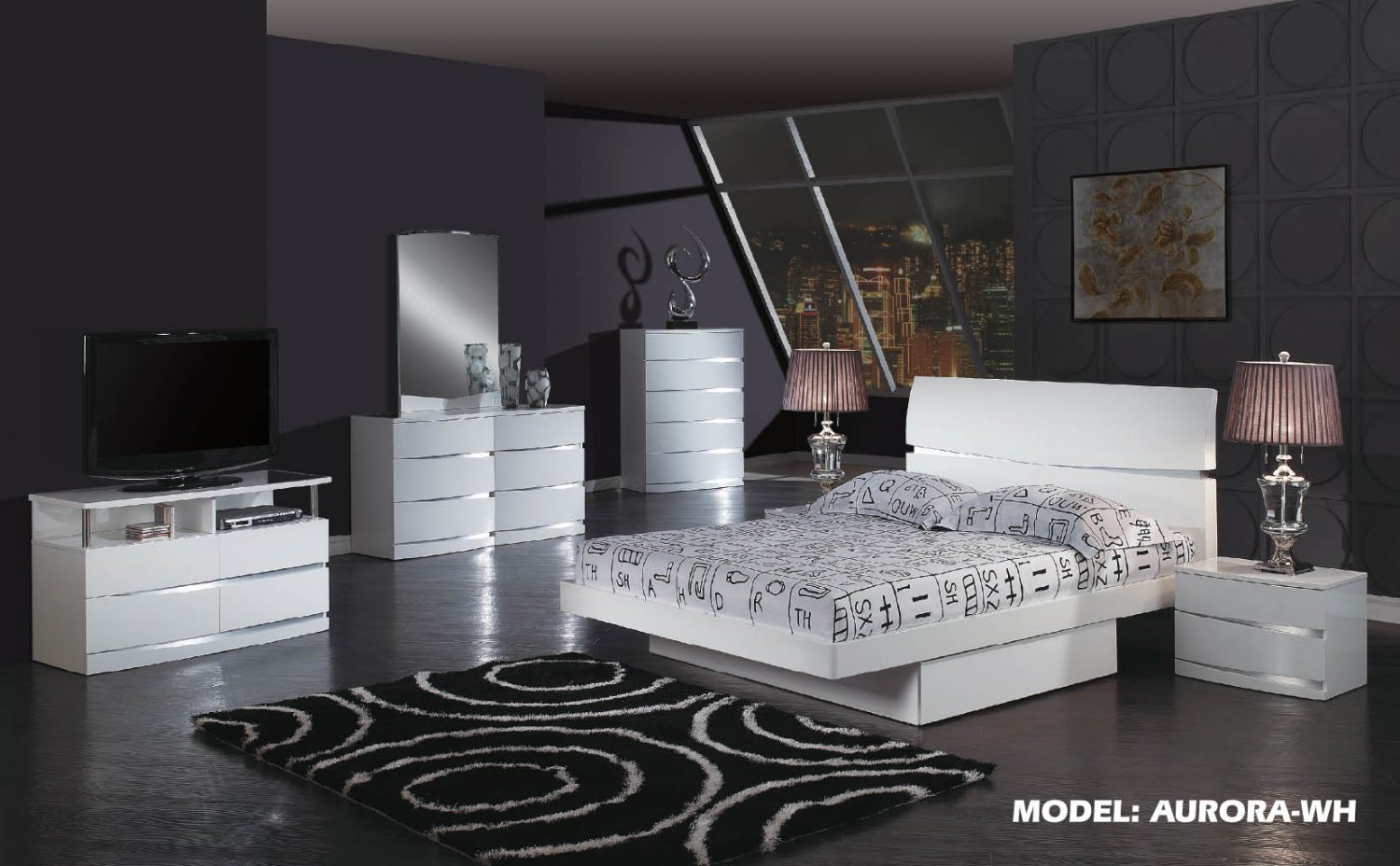 Aurora White Glossy Finish Contemporary Full Size 5pc Bedroom Set by Global