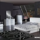 Aurora White Glossy Finish Contemporary Queen Size 5pc Bedroom Set by Global