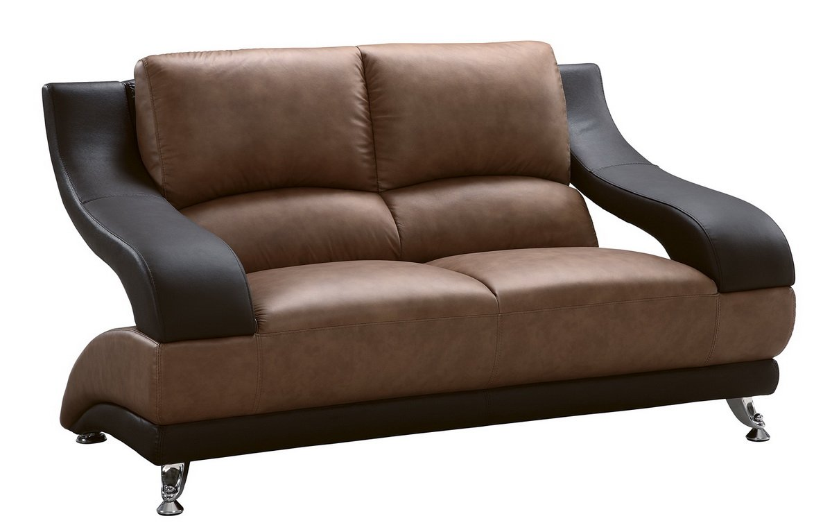 982 Tan/Brown Bonded Leather Loveseat by Global Furniture