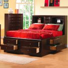 200409 Phoenix Queen Size Storage Bed in Cappuccino Finish
