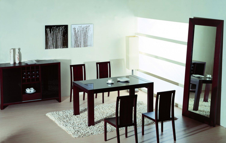 Reflex  Modern 5pc Dining Set in Wenge with Glass Insert