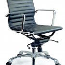 Comfy Low Back Office Chair in Black Leatherette