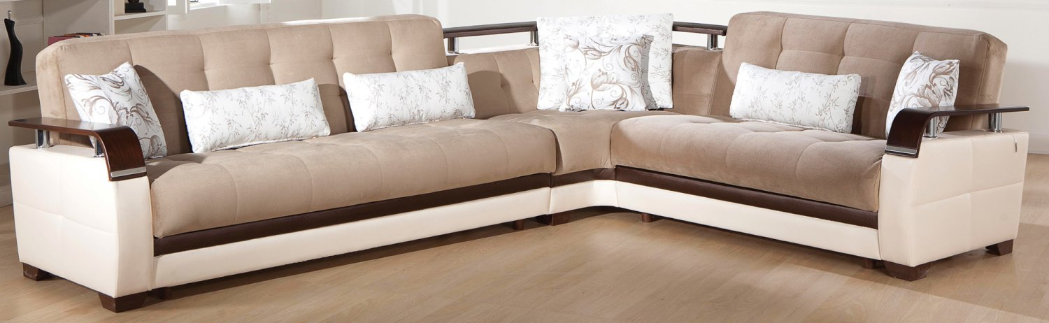 Natural Modern Sectional Sofa Bed In Naomai Brown Color By
