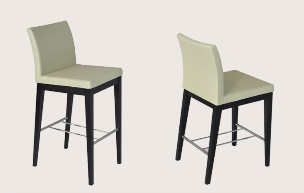Aria Wood Counter Or Bar Stool In Leatherette