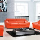 8021 Orange Full Leather Modern 3pc Sofa Set