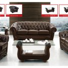 262 Brown Full Leather 3pc Sofa Set