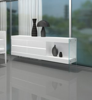 Cloud Modern White Gloss Lacquer Finish Sideboard