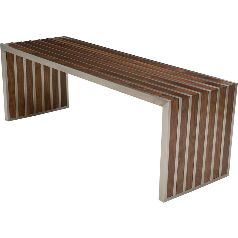 American Amici Bench In Walnut And Stainless Steel