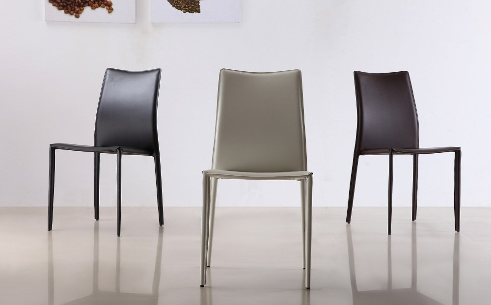 Set of Two C031B Leather Dining Chairs