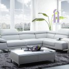 1717 White Italian Leather Sectional