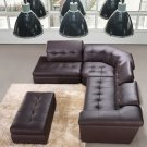 397 Chocolate Brown  Italian Full Leather Sectional Sofa