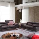 973 Premium Brown Leather Sofa and Loveseat Set