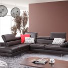 A761 Coffee Italian Leather Sectional Sofa