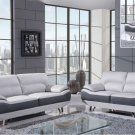 U7330 White and Gray 3 Piece Bonded Leather Sofa Set