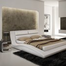 J&M Wave King Size Bed White Leatherette