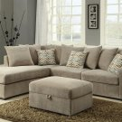 Alison Taupe Fabric Reversible Sectional Sofa with ottoman