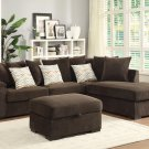 Alison Brown Fabric Reversible Sectional Sofa with ottoman