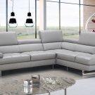 Aurora Lt Grey Italian  Letaher Sectional Sofa